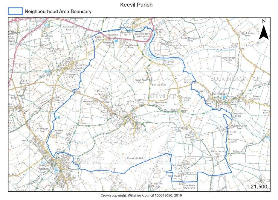 Map showing parish boundary